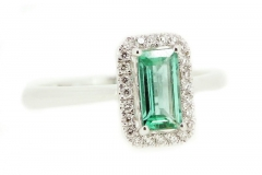 18ct white gold emerald cut emerald and diamond ring