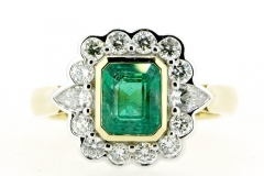 Emerald and Diamond 18ct two tone cluster ring