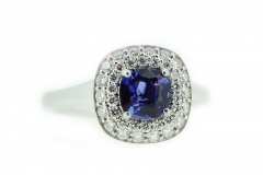 18ct White Gold Ceylon Sapphire ring with diamond halo