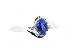 18ct white gold oval sapphire and diamond wrap around ring around