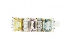 18ct yellow, pink and greeen sapphire and diamond ring