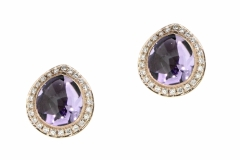 9ct Rose Gold Studs with a 2.90ct Amethyst & 50 Diamonds