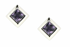 9ct White Gold & Amethyst Studs