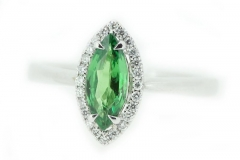 18ct white gold tsavorite and diamond cluster ring