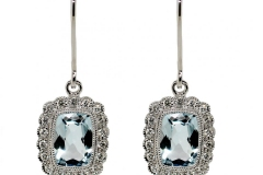 9ct White Gold, 2 Aquamarines equaling 1.55ct & .19ct of Diamonds.