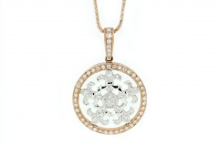 9ct White & Rose Gold, set with .36ct of Diamonds.