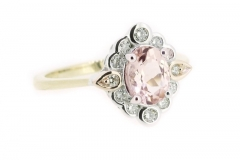 Three tone morganite and diamond claw and rub over set ring
