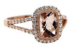 9ct Rose Gold, 1.22ct Morganite & 40 Diamonds equaling .37ct.
