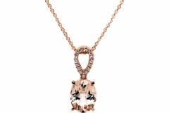 18ct Rose Gold, 1.55ct Morganite & 16 Diamonds equaling .08ct.