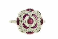 18ct White Gold Ruby and Diamond Flower