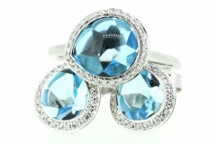 9ct white gold cabochon Topaz and Diamond set