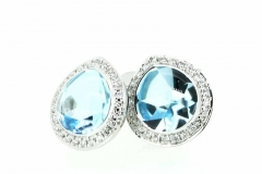 9ct white gold cabochon Topaz & Diamond Earrings