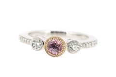 Pink sapphire and diamond, rose and white gold milgrain trilogy
