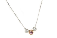 Pink Sapphire and diamond 9ct white gold milgrain necklace