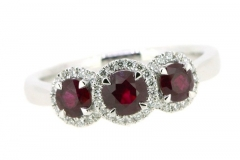 Ruby cluster trilogy ring