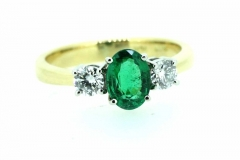 18ct yellow and white gold Columbian Emerald ring
