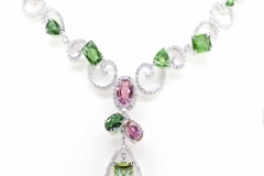 18ct white gold Diamond Necklace with Pink & Green Tourmalineree