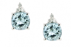 18ct white gold aquamarine and diamond studs