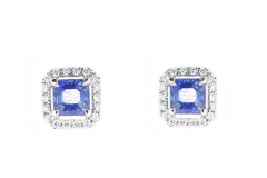 18ct white gold sapphire and diamond studs
