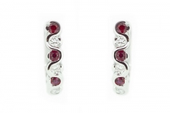 18ct white gold ruby and diamond huggie earrings