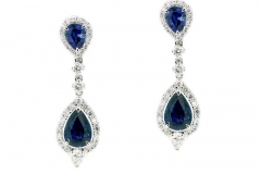 18ct white gold sapphire and diamond long drop earrings