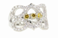 18ct White Gold Dress ring with .31ct of Yellow Diamonds & 54 White Diamonds equaling .65ct