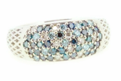 18ct White Gold blue Diamond & white Diamond handmade dress ring