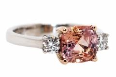 2.51ct Padparadsha Sapphire & 2 Diamonds = .60ct set into 18ct Rose & White gold
