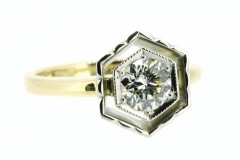 Handmade platinum and 18ct yellow gold diamond ring, featuring .80ct E/SI1 round brilliant cut diamond