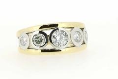 18ct handmade yellow and white gold diamond ring