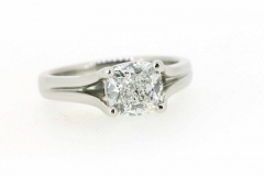 handmade platinum split shank solitaire engagement ring