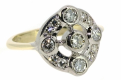 9ct Yellow & White Gold Dress ring containing a total Diamond weight of .70ct