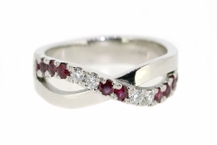 18ct White Gold Infinity Ruby & Diamond Dress Ring