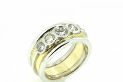 18ct yellow and white gold handmade diamond ring