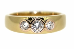18ct Yellow Gold Handmade Dress ring with a total Diamond weight of .58ct