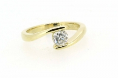 18ct yellow gold tension set round brilliant cut diamond ring handmade in store