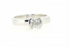 18ct White Gold partial rub over set Engagment ring