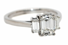 Handmade 18ct White Gold Emerald cut Trilogy with a total Diamond weight of 1.42ct