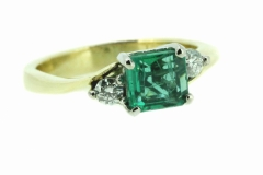 18ct Yellow Gold Emerald and Diamond handmade Dress ring