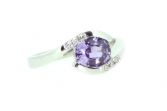 Violet Sapphire and diamond Platinum ring