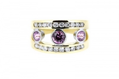 18ct Yellow Gold, Amethyst and Diamond Dress ring