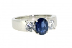 Handmade Platinum sapphire and diamond dress ring, featuring diamonds totalling .82ct