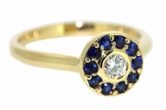 18ct Yellow Gold, Diamond & Sapphire Dress ring