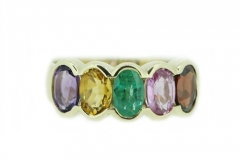 18ct Yellow Gold Amythest, Citrine, Emerald, Pink Sapphire and Garnet ring
