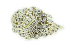 18ct Yellow Gold channel set angel wings ring