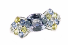 yellow, blue and white sapphire handmade dress ring in 18ct white gold