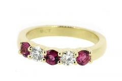 18ct Yellow Gold handmade Ruby and Diamond band