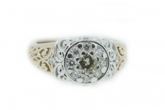 Two tone 'modern filigree' style diamond ring