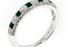18ct white gold natural Emerald & Diamond Ring