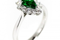 Natural Emerald and Diamond Cluster Ring